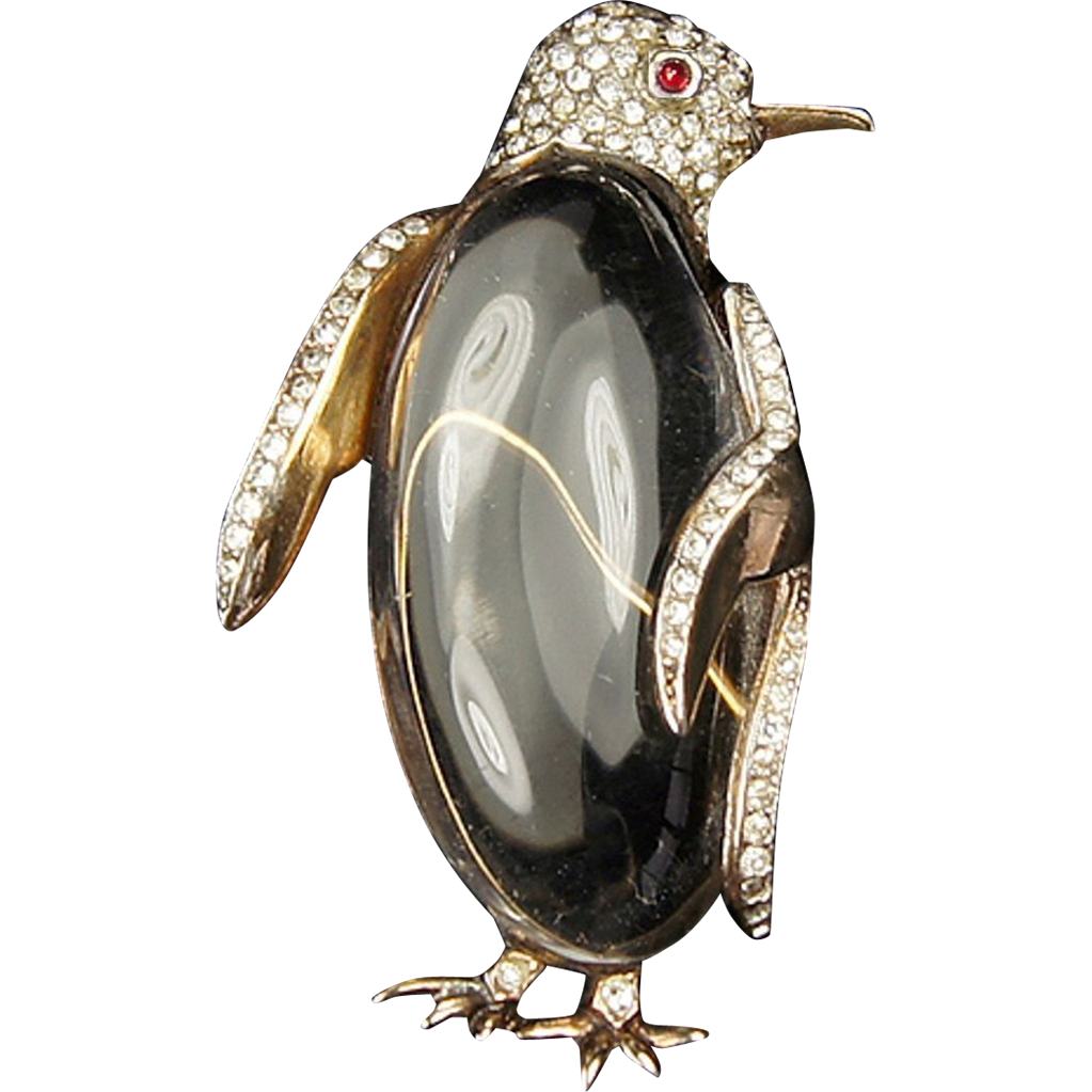 pave jelly philippe sterling penguin lucite alfred trifari brooch belly pin