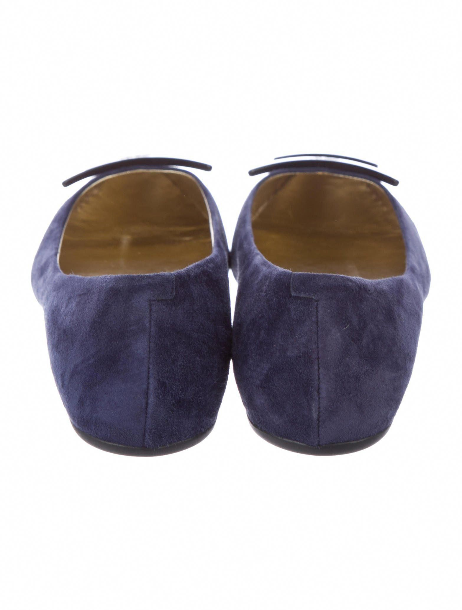 a647157f30e71b Navy suede Roger Vivier round-toe flats with resin buckle accents at tops  and rubber
