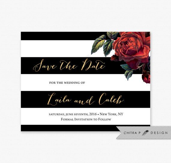 Black white save the date card printed red rose gold floral items similar to black white save the date card printed red rose gold floral invite striped modern flower art deco formal holiday french paris w19 on stopboris Gallery