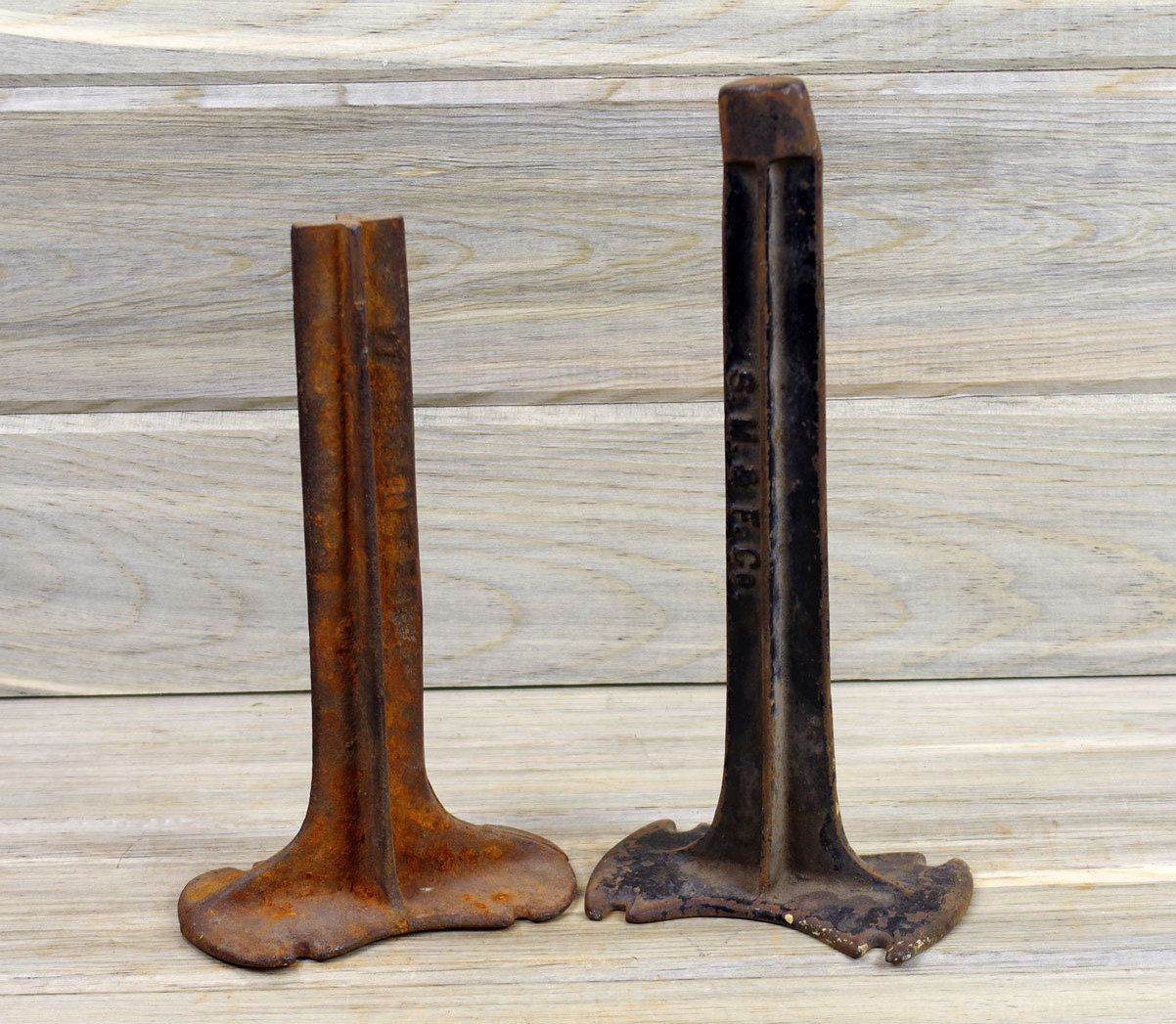 Rustic Door Stopper Cobbler Stands Set Of 2 Scrap Metal Salvage Metal Door