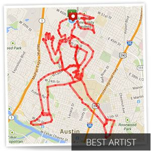 "MapMyFitness art contest winner - ""Running Woman"" – Submitted by Sylvia R. from Austin, TX Total Distance = 28.31 miles"