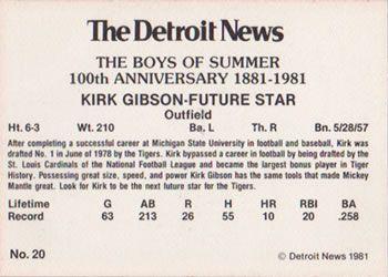 1981 Detroit News Detroit Tigers #20 Kirk Gibson Back