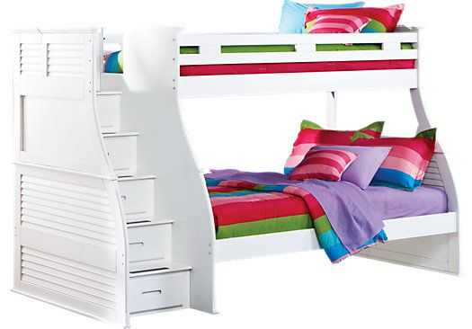 Shop for a Belmar White 4 Pc Twin Over Full Step Bunk Bed at Rooms