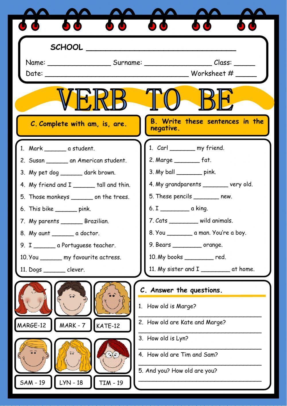 Resultado de imagen de ficha verbo to be primaria