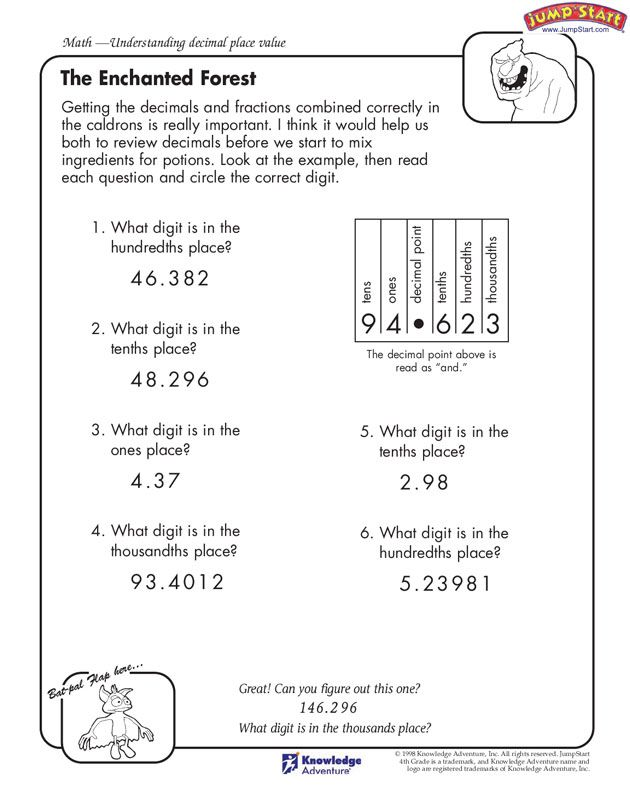 The Enchanted Forest 4th Grade Understanding decimal place – Understanding Decimals Worksheets