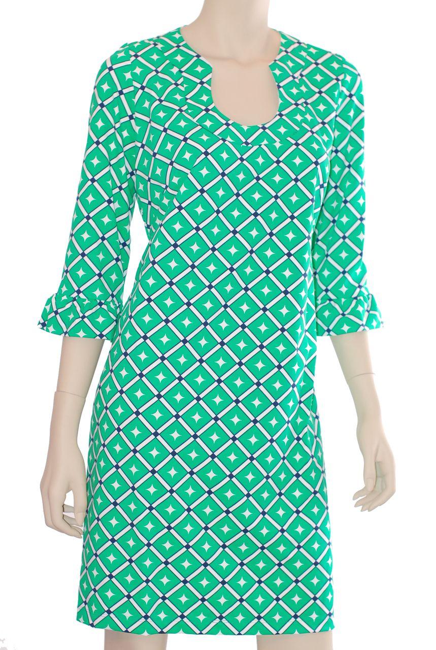 Katherine Way Collections - Naples Dress Diamond Green/Navy