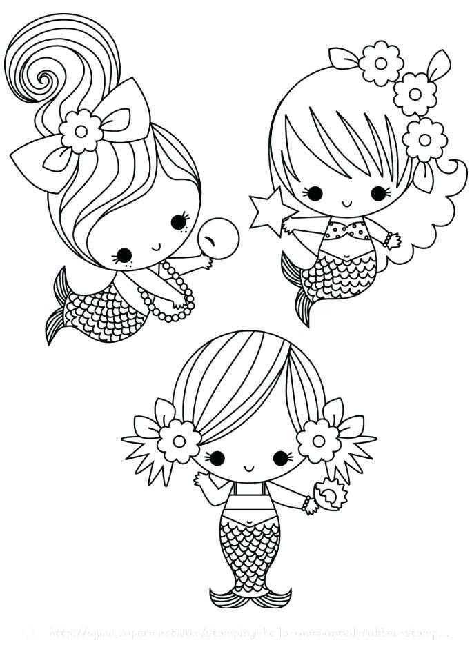 Cute Mermaid Coloring Pages Printable Portraits