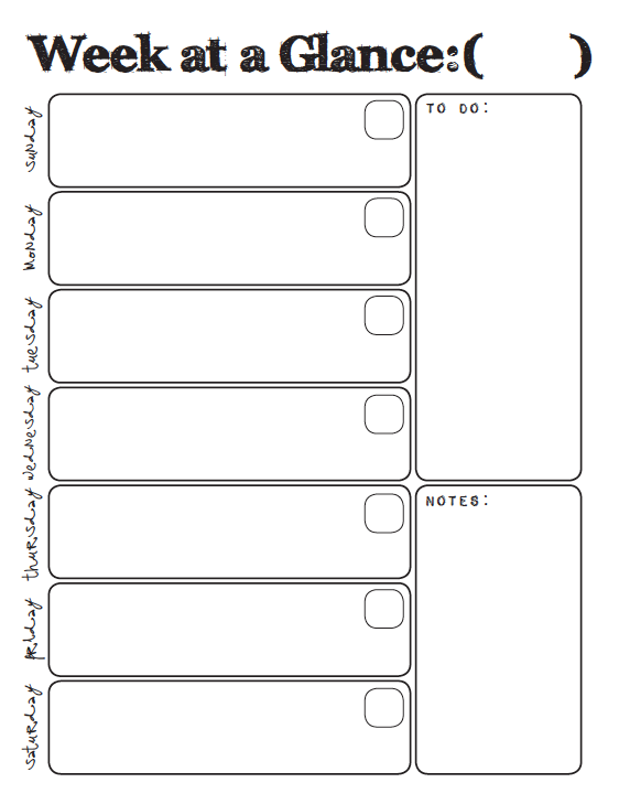 Week at a glance printable household binder part 1 for Day at a glance calendar template