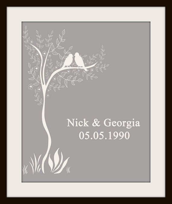 Personalized Custom Love Birds Wedding Date by TranquilityPrints,