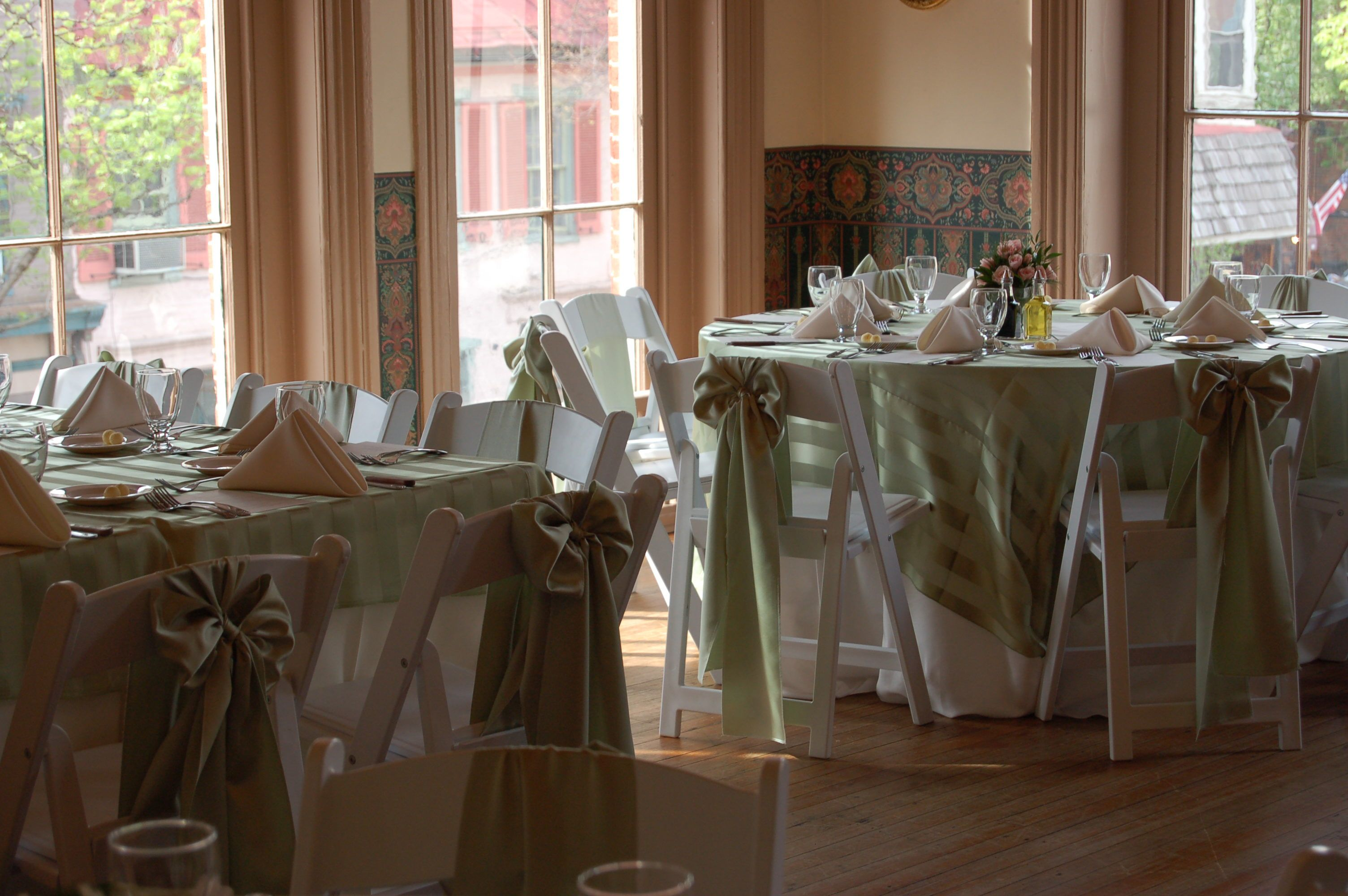 White Polyester underlay linens with Sage Satin Stripe Sheer