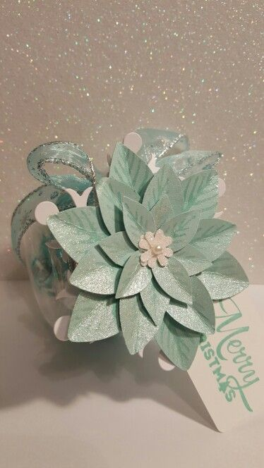 Ikea jars, stampin up poinsettia punch! Front view. . By Valerie Sanchez.
