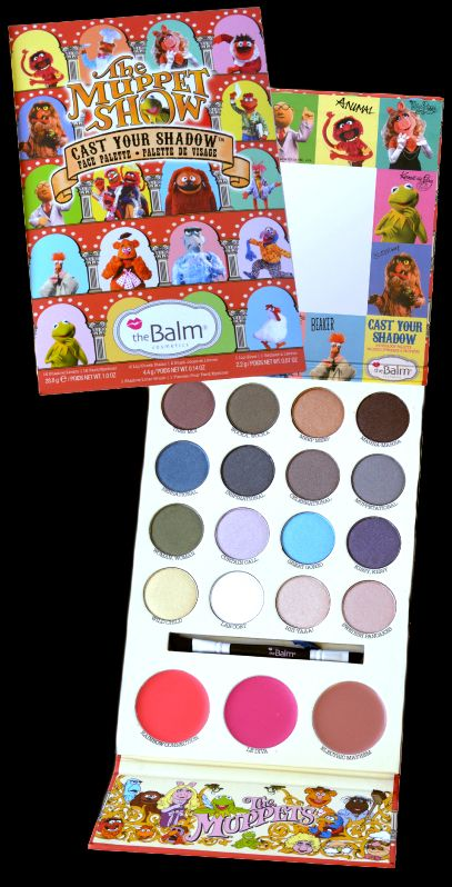 """theBlam: The Muppets Show """"Cast Your Shadow"""" Face Palette - Eyes in Tres Moi, Wocka Wocka, Meep Meep, Mahna-Mahna, Sensational, Inspirational, Celebrational, Muppetational, Woman Woman, Curtain Call, Great Gonzo, Kissy Kissy, Wild Child, Lab Coat, Hiii-yaaa!, Swedish Pancakes, & Lips in Rainbow Connection, Le Diva, Electric Mayhem,"""