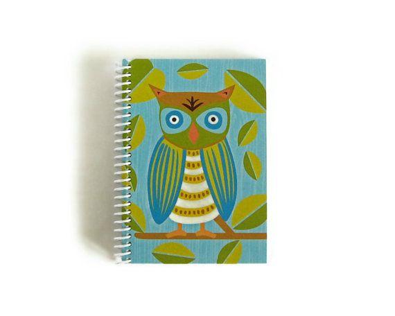 Owl  Notebook Spiral Bound 4 x 6 by stationeryCiaffi on Etsy, $17.00