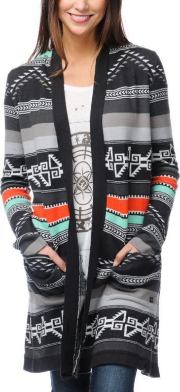 3715056b9 Billabong Tralalah Tribal Print Long Cardigan Sweater
