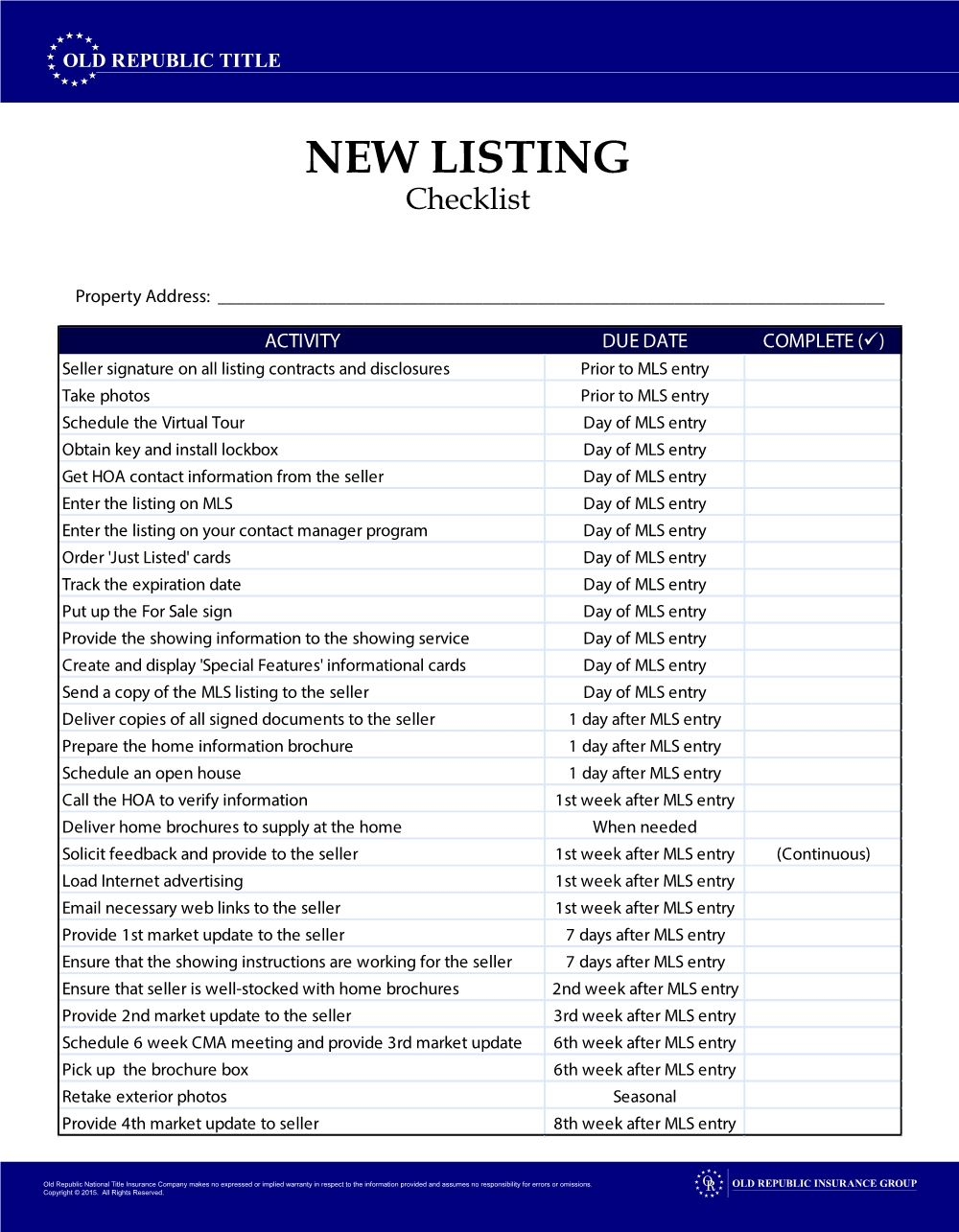 Don T Forget A Step In One Of Your Transactions Use These Handy Checklists From Old Republic Title Real Estate Checklist Real Estate Quotes Real Estate Agent