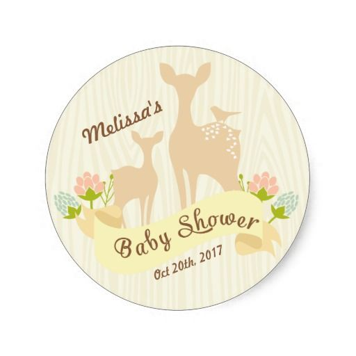 Cute vintage woodland personalized baby shower stickers