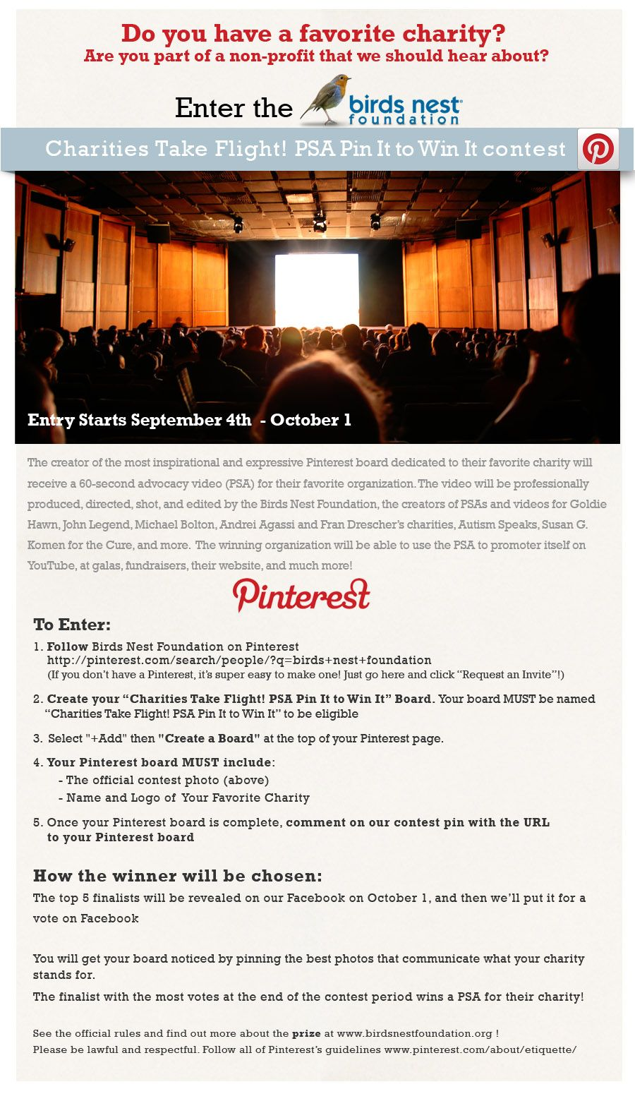 Join our Pinterest contest to win a professionally shot and edited advocacy video for your favorite charity!