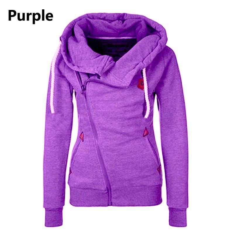 Gamiss Women Purpel Warm Fleece Outwear Winter Hoodies Oversize Sweatshirts