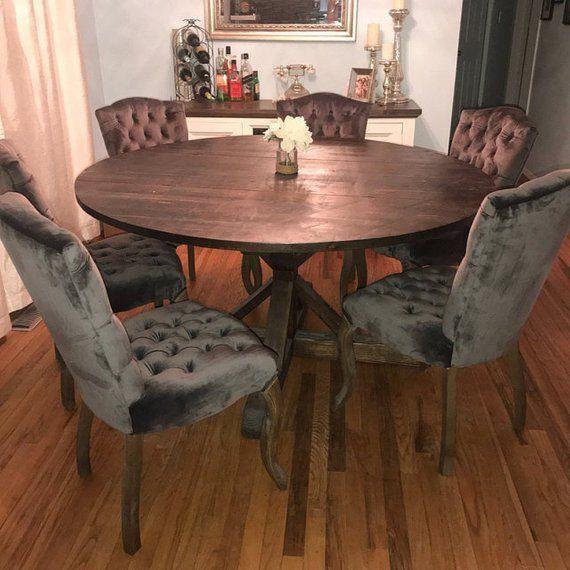 Strange Rustic Round Pedestal Base Table Round Kitchen Table Round Interior Design Ideas Gentotryabchikinfo