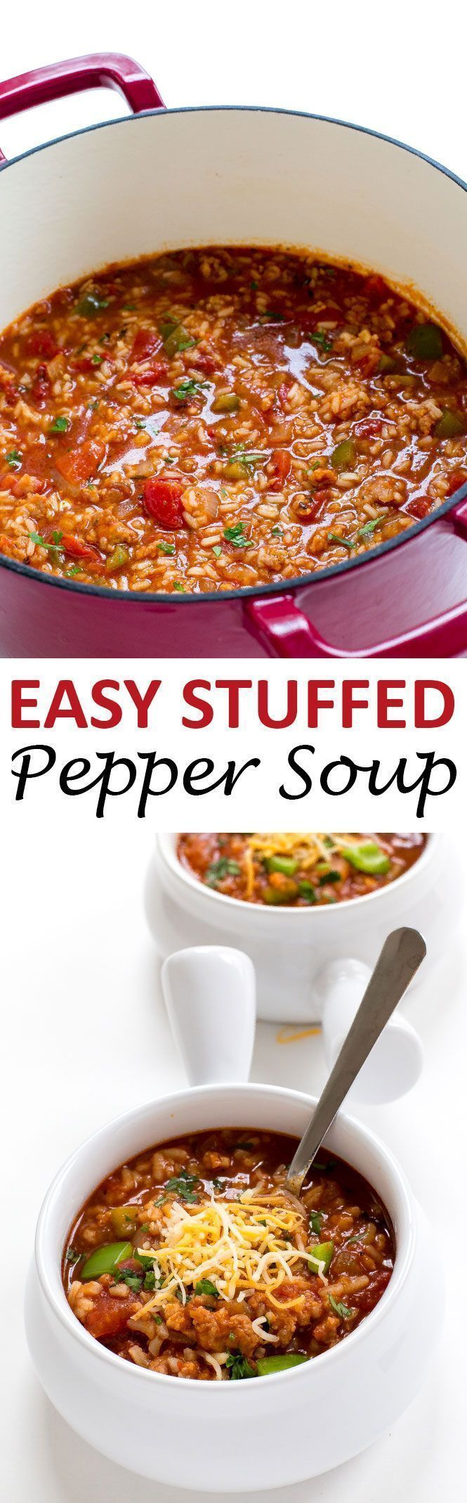 Stuffed Pepper Soup loaded with spicy sausage, bell peppers and rice! Everything you love about a stuffed pepper but in soup form! | chefsavvy.com #recipe #soup #stuffed #pepper