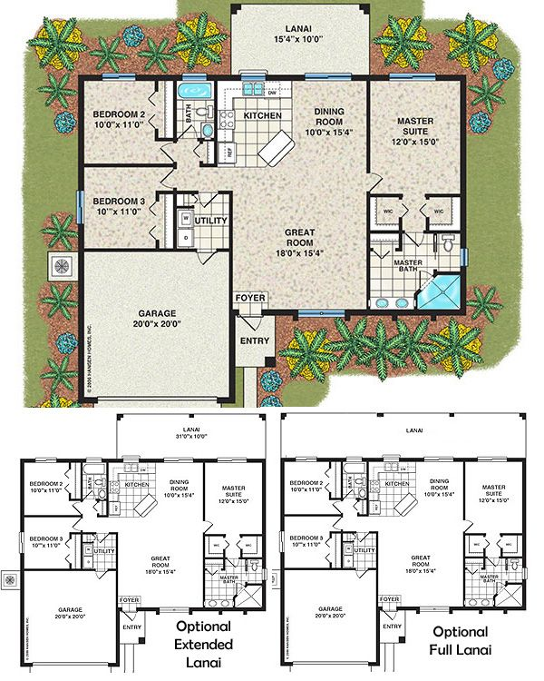 Three Bedroom House Plans With Garage | Amazing House Plans