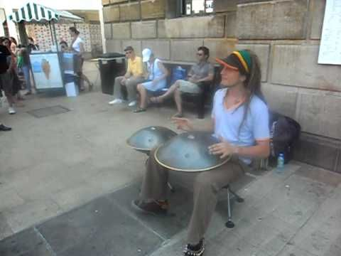 Daniel Waples playing the Hang. Similar in appearance to a steel drum, but inside out. Beautiful sound, beautiful music, beautiful talent! Look him up on youtube for more videos.