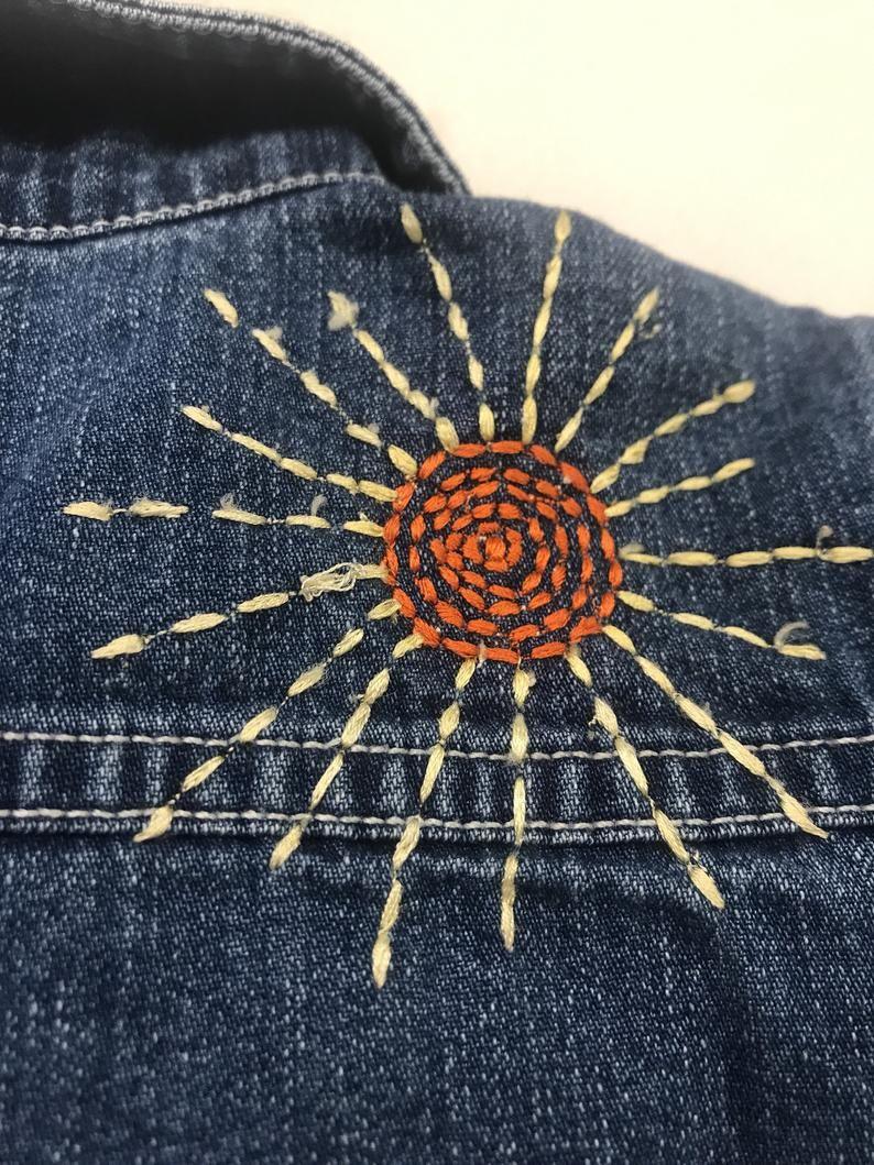 Vintage embellished embroidered BoHo kids gap Jean jacket 12/18 months
