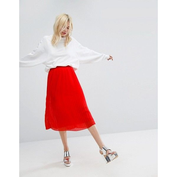 e7b6d5b683 Monki Frill Hem Midi Skirt ($48) ❤ liked on Polyvore featuring skirts, red,  red high waisted skirt, red knee length skirt, high waisted knee length  skirt, ...