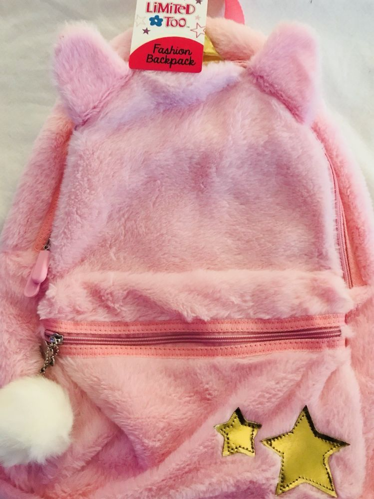 Limited Too Pink Fashion Backpack For Girls Furry Ears Gold Unicorn Horn  Stars dc7dff23c3dad