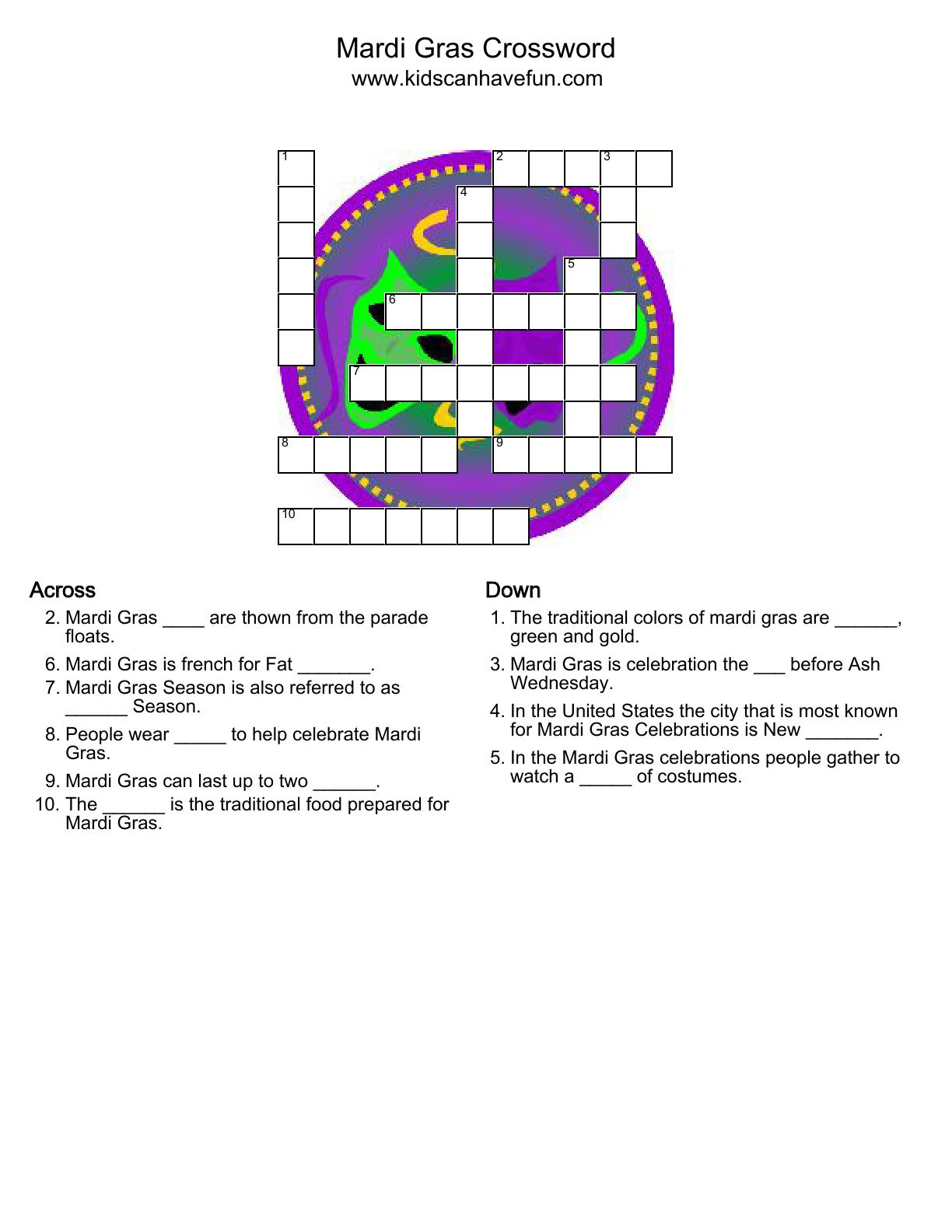 Mardi Gras Crossword Puzzle
