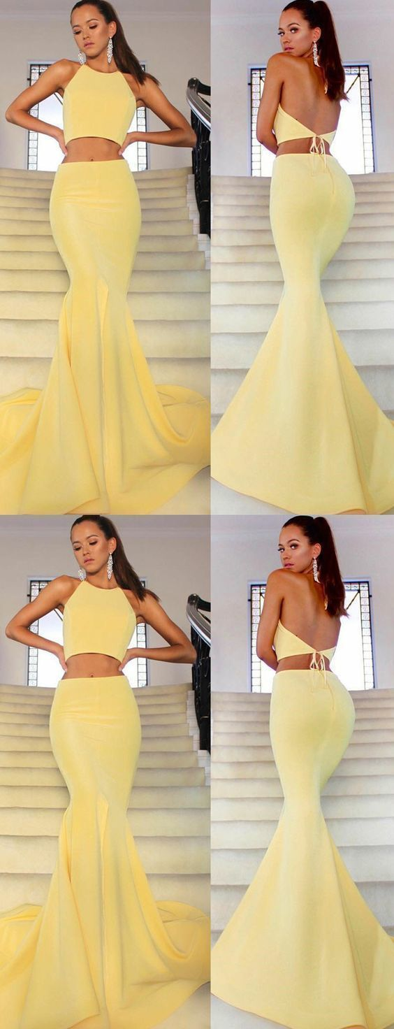 Sexy two pieces mermaid halter sleeveless high split long yellow