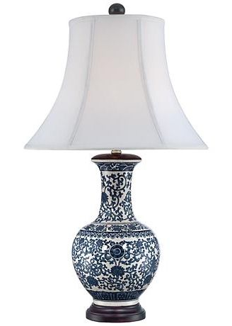 Windom Long Neck Blue And White Ceramic Table Lamp Blue And White Lamp Ceramic Table Lamps Bedside Night Stands