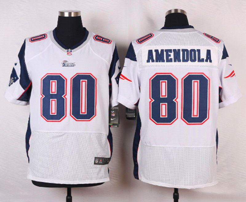 Men s NFL New England Patriots  80 Danny Amendola White Elite Jersey ... 14b5162f1