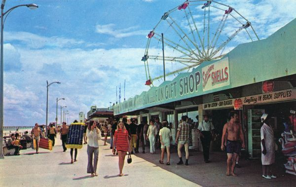 Postcard Of The Boardwalk At Jacksonville Beach Florida Memory