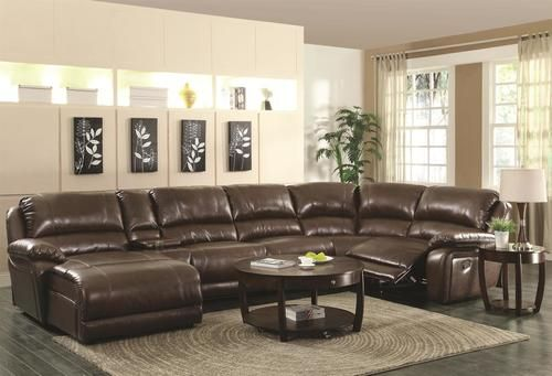 Mackenzie Chestnut Bonded Leather Match Reclining Sectional Sofa 600357 Sectional Sofa With Recliner Leather Sectional Sofas Reclining Sectional