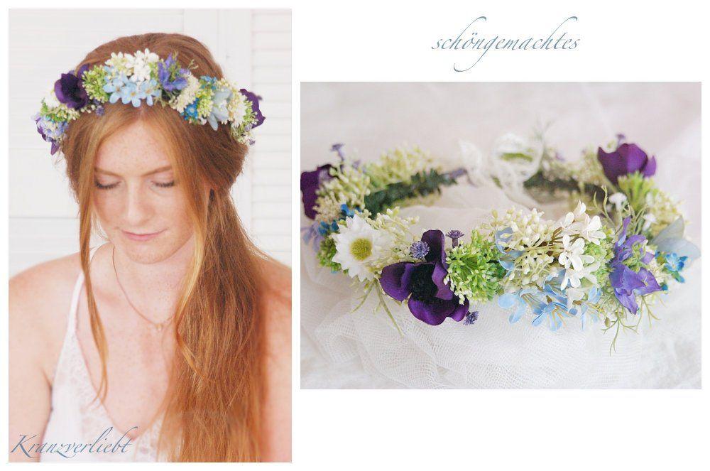 Haarkranz Blau Blumenkranz Braut Haarschmuck Boho Hochzeit Blumenmadchen Kopfschmuck Schongemachtes 03 Crown Crown Jewelry Fashion
