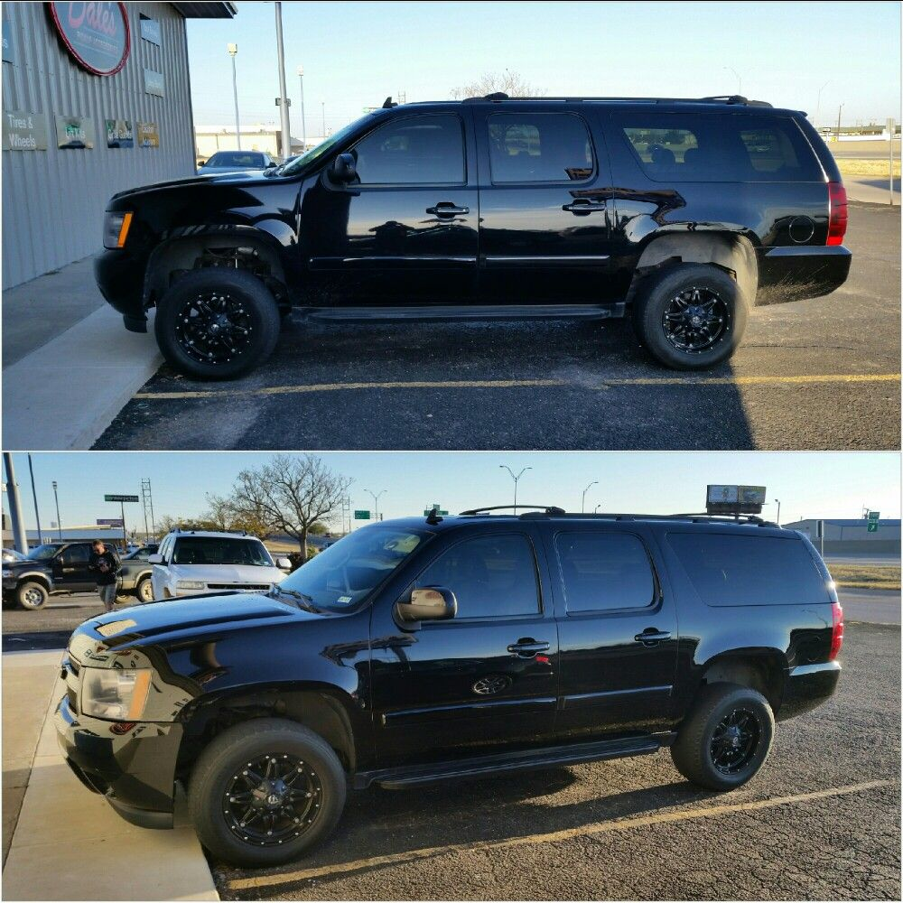 2008 Suburban 2500 Before And After 3 Rough Country Suspension