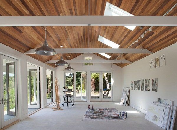 large art studio ideas wood ceiling skylights white wall color ...