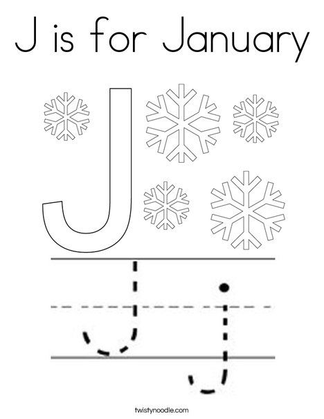 J is for January Coloring Page - Twisty Noodle in 2020 ...