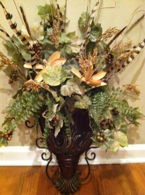 elegant traditional italian old world decor wall sconce fall floral arrangement silk flowers ferns feathers wall decor wreath alternative - Silk Arrangements For Home Decor