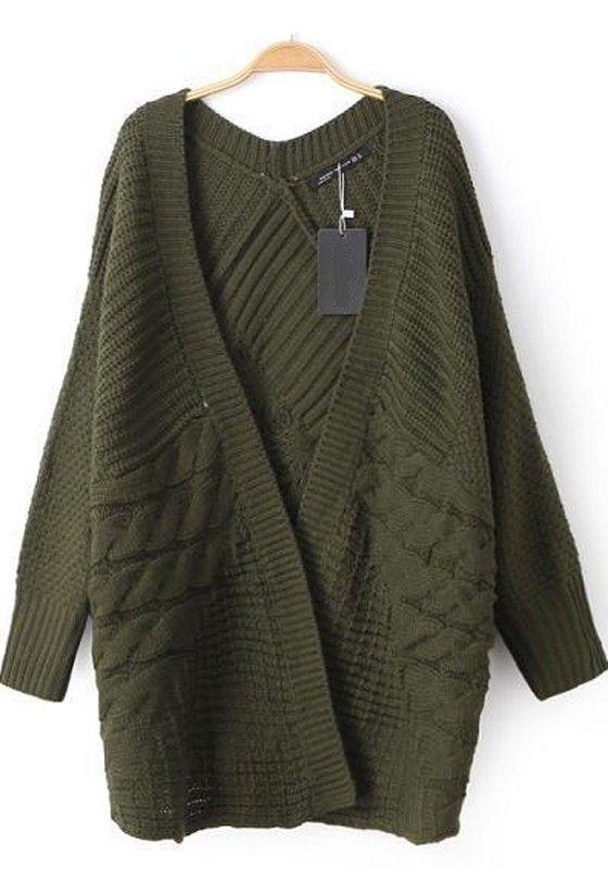 Green Plain Cable Fashion No Button Long Sleeve Fall Fashion ...
