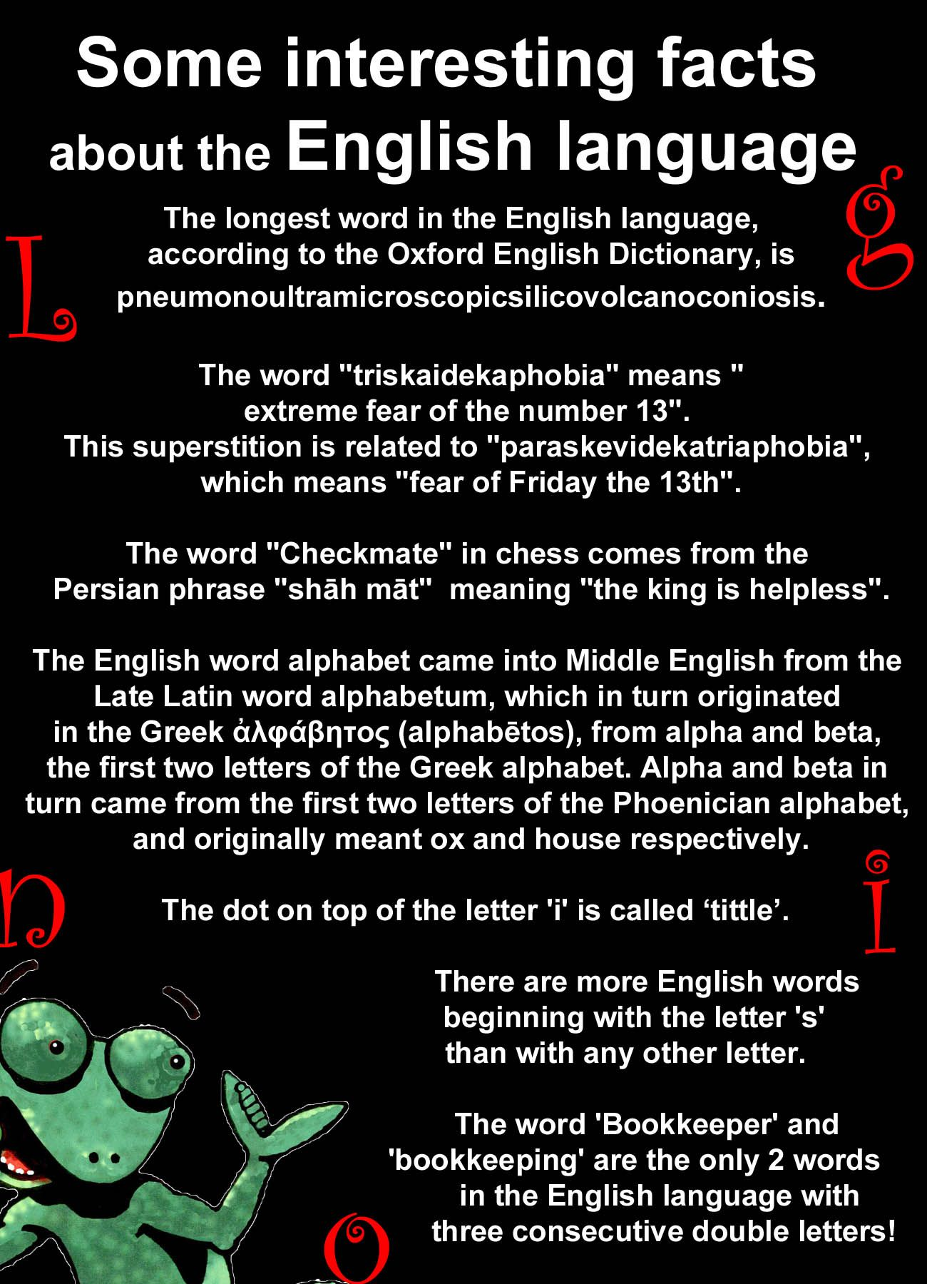 Interesting Facts About The English Language Language Facts