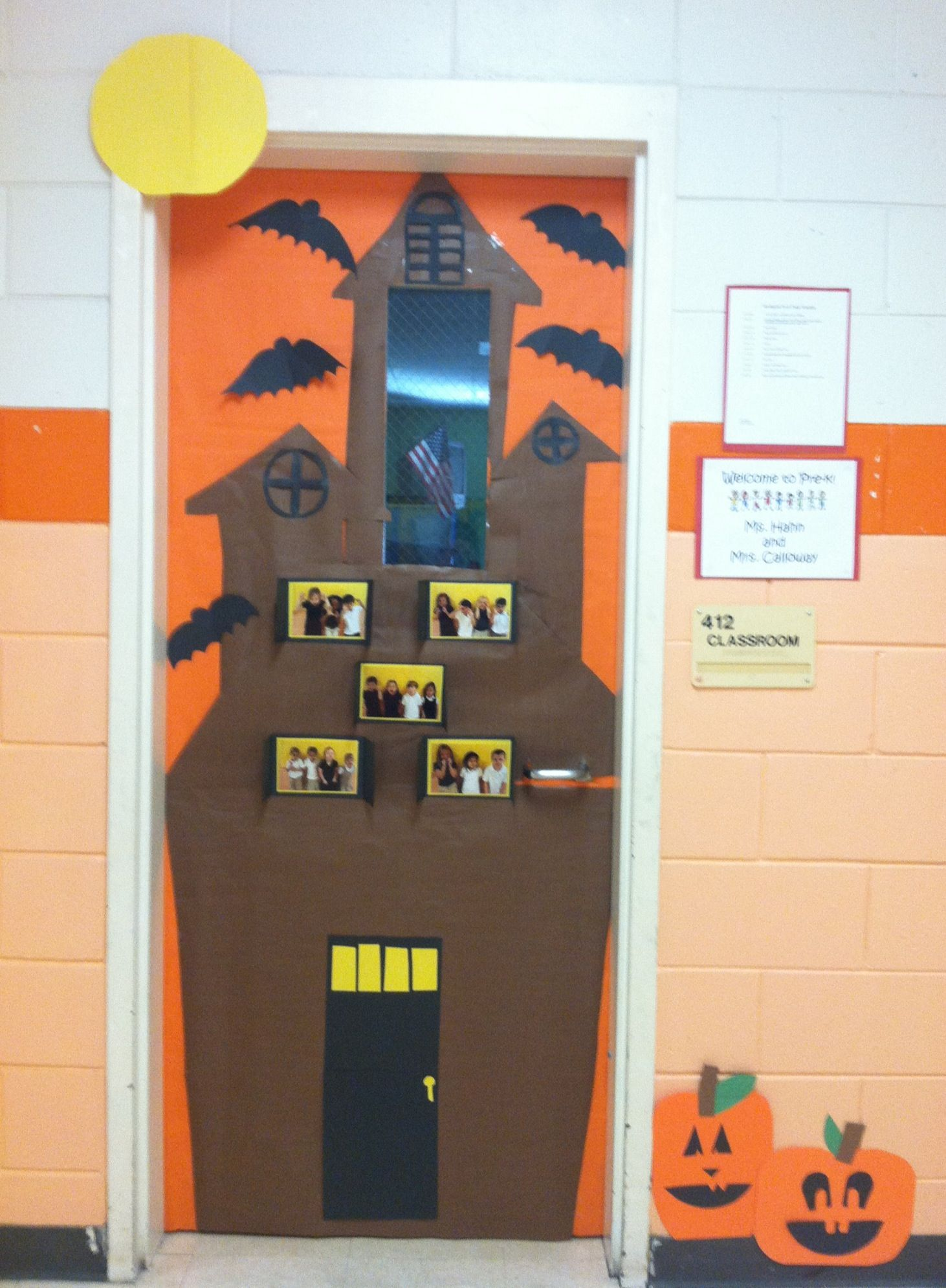 Make A Haunted House With Students Pics In Windows Door Decorations Classroom Halloween Theme Preschool Halloween Classroom Door