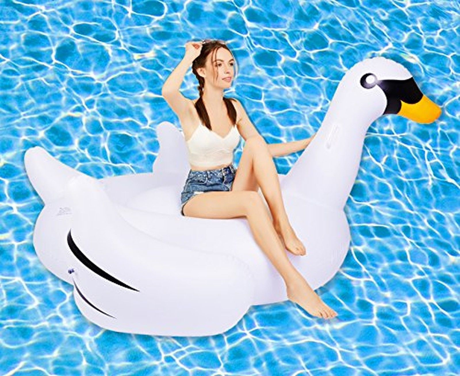 Giant Swan Inflatable Camping Floating Water Pool Toy Travel