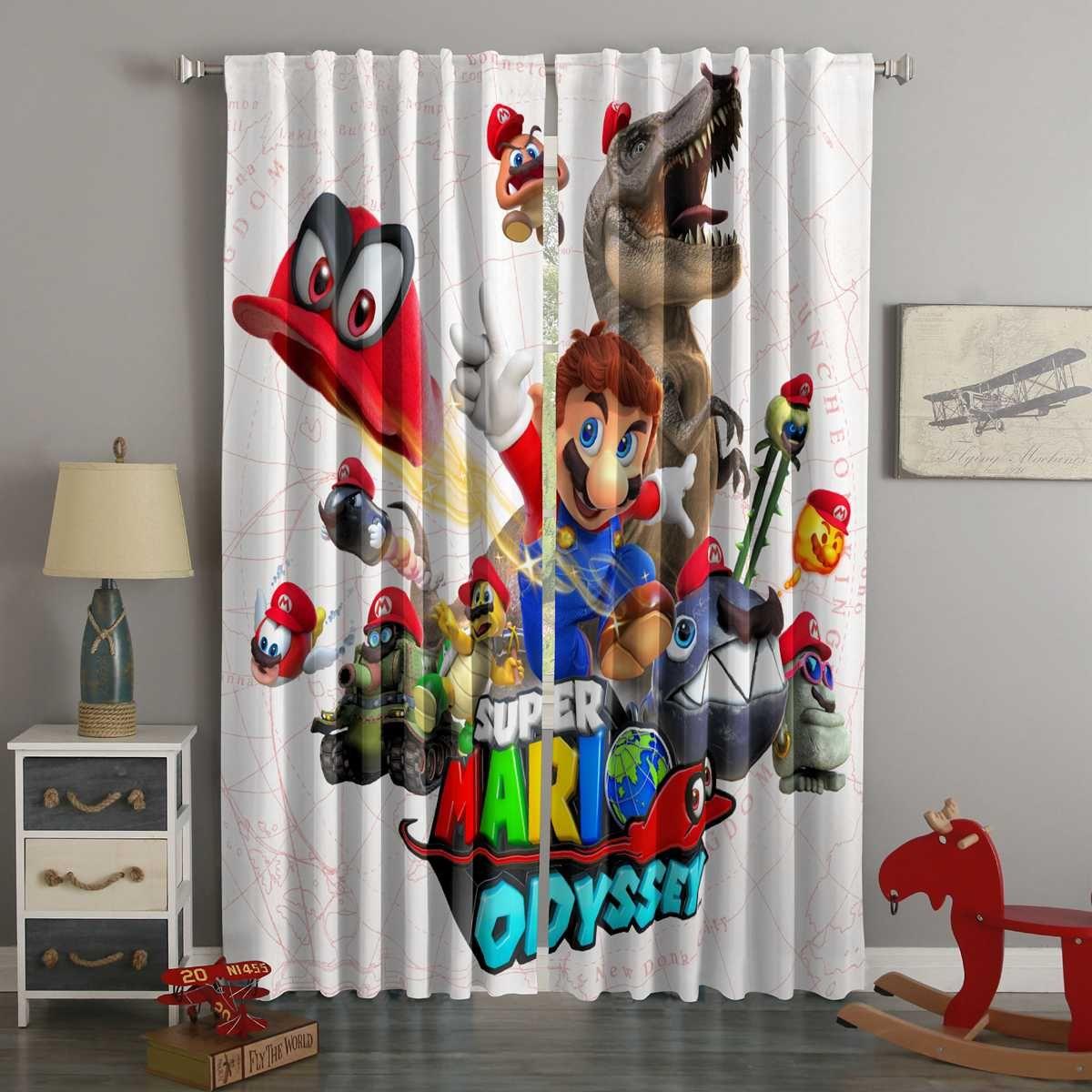 3d Printed Super Mario Odyssey Style Custom Living Room Curtains Curtains Living Room Curtains Super Mario Room