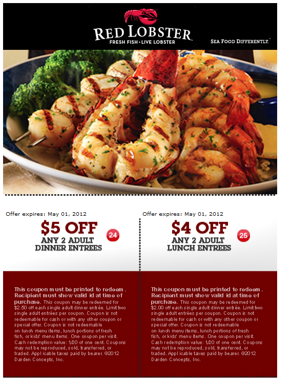 Discount coupons to red lobster