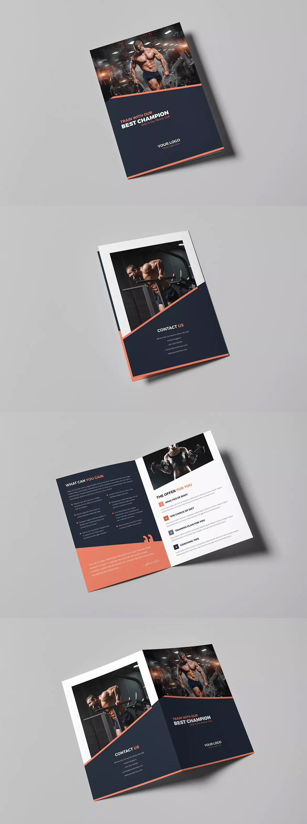 gym bi fold brochure template psd a4 and us letter size idle