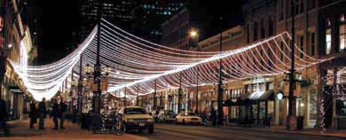 Rope lighting creates a light canopy over the street and sidewalks rope lighting creates a light canopy over the street and sidewalks american lighting ul compliant mozeypictures Images