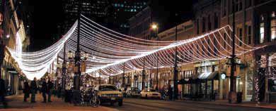 Rope lighting creates a light canopy over the street and sidewalks rope lighting creates a light canopy over the street and sidewalks american lighting ul compliant aloadofball Choice Image