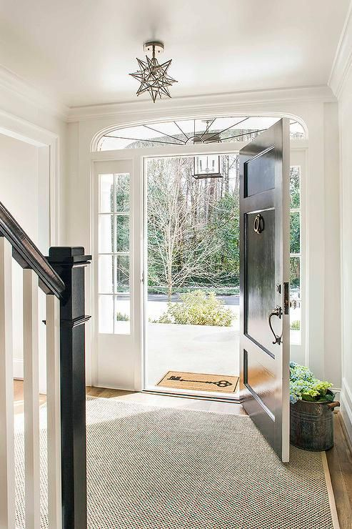 Chic foyer features a black front door flanked by 4 pane skylights ...